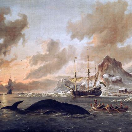 Nederlandske hvalfangere på Spitsbergen. Maleri av Abraham Storck (1690).